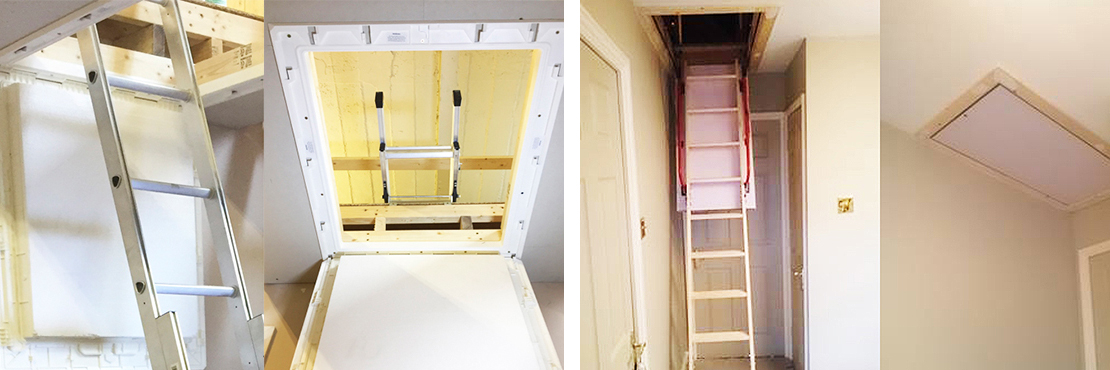 Energy efficient loft hatches in wood or plastic to building regulations